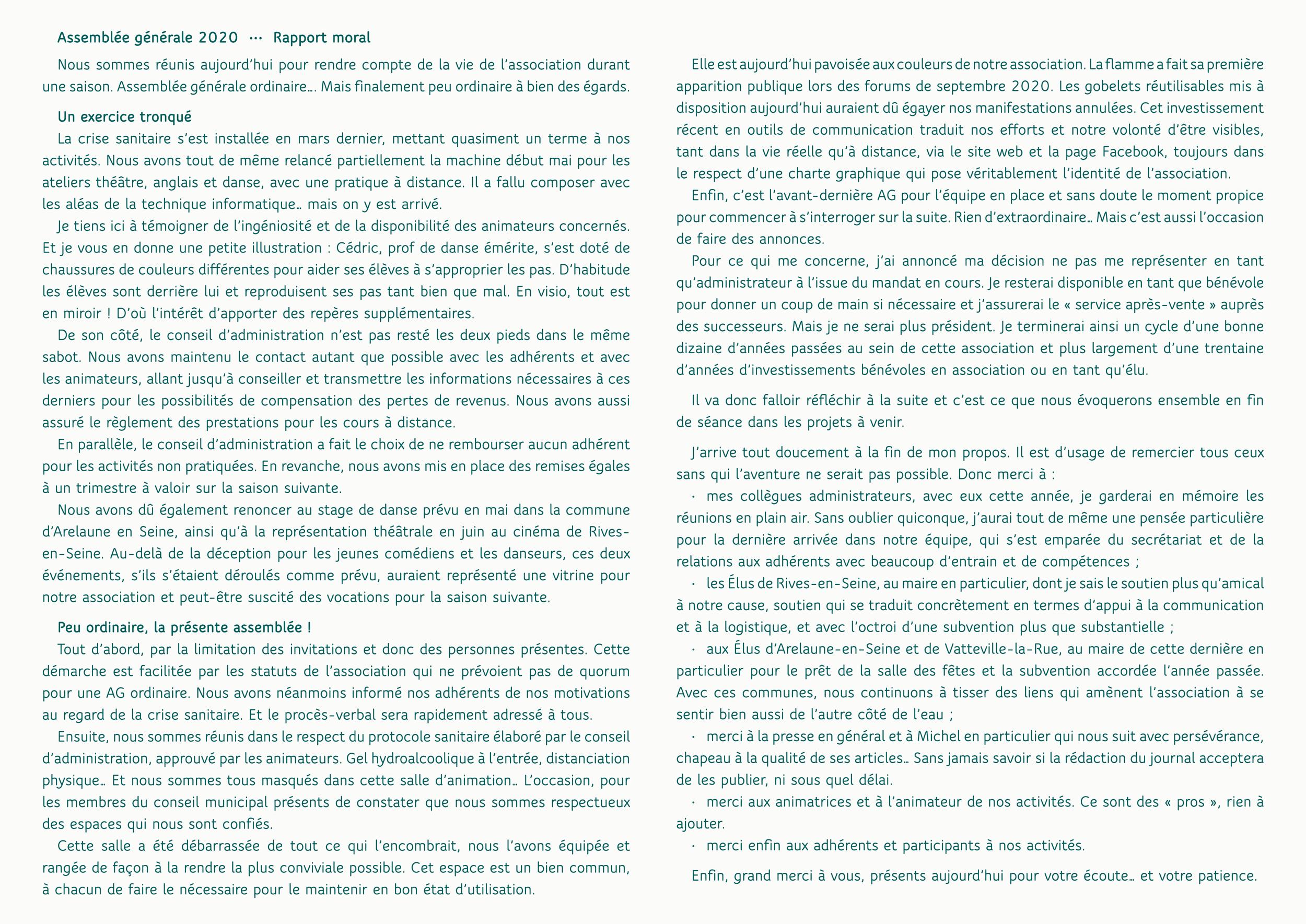 Rapport moral AG